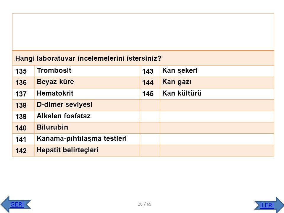 Hangi laboratuvar incelemelerini istersiniz 135 Trombosit 143