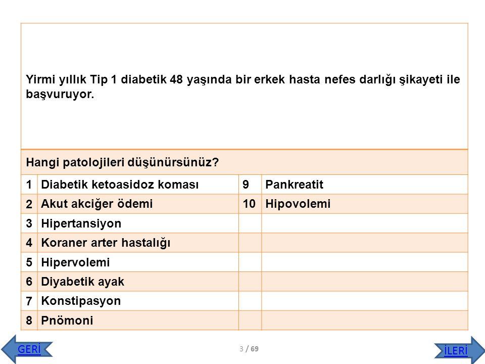 Hangi patolojileri düşünürsünüz 1 Diabetik ketoasidoz koması 9