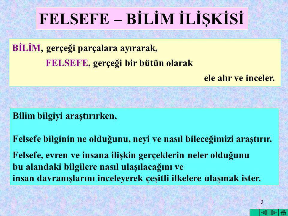 FELSEFE – BİLİM İLİŞKİSİ