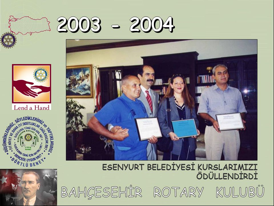 2003 - 2004 ESENYURT BELEDİYESİ KURSLARIMIZI ÖDÜLLENDİRDİ