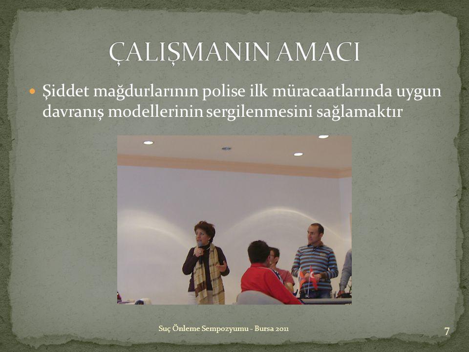 ÇALIŞMANIN AMACI Şiddet mağdurlarının polise ilk müracaatlarında uygun davranış modellerinin sergilenmesini sağlamaktır.