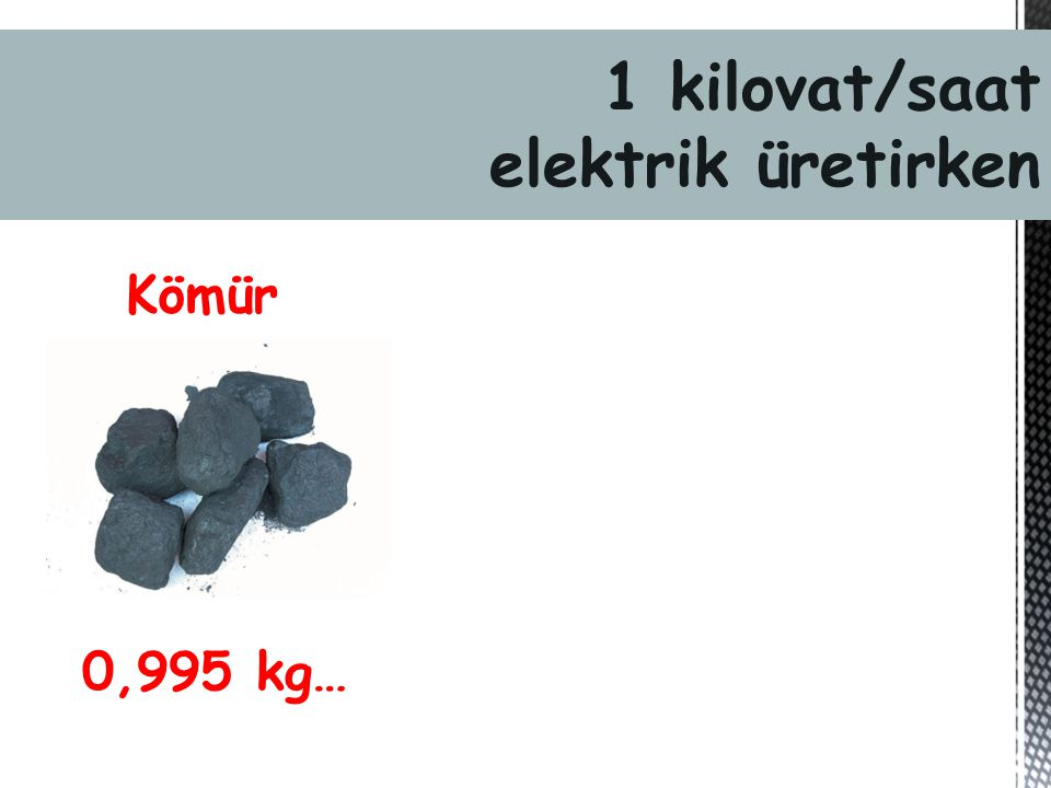 1 kilovat/saat elektrik üretirken