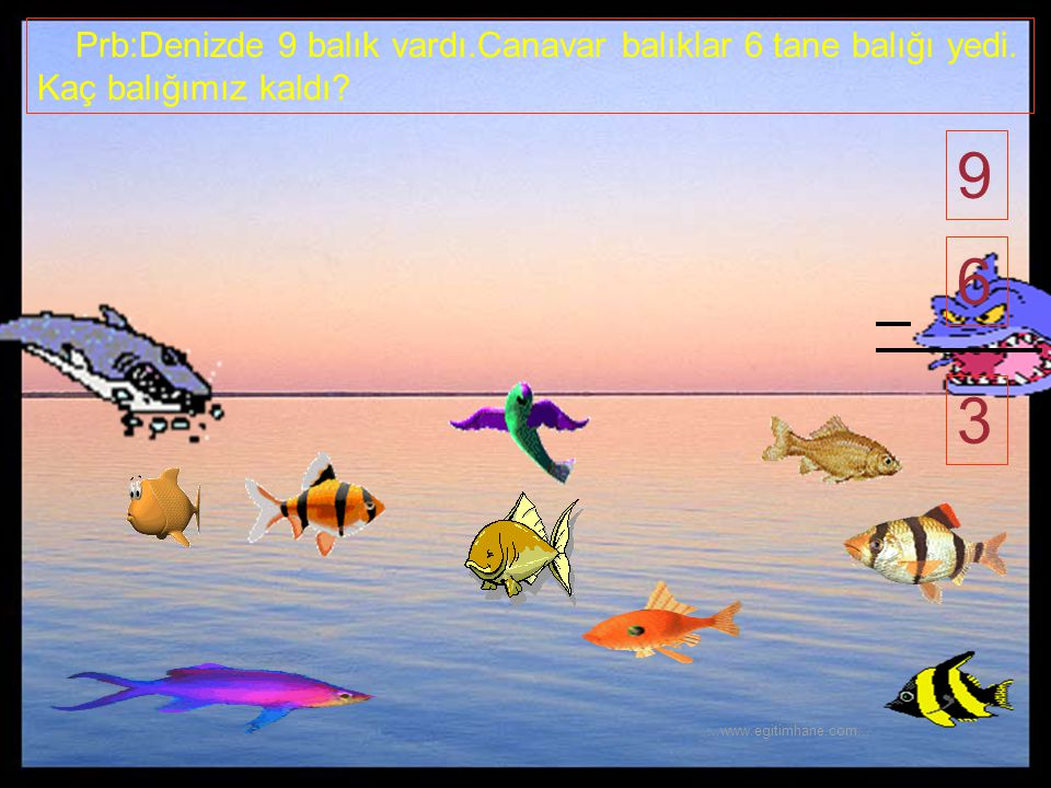 Prb:Denizde 9 balık vardı. Canavar balıklar 6 tane balığı yedi