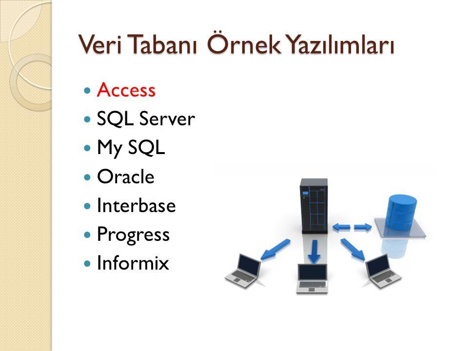 Veri Tabanı Örnek Yazılımları