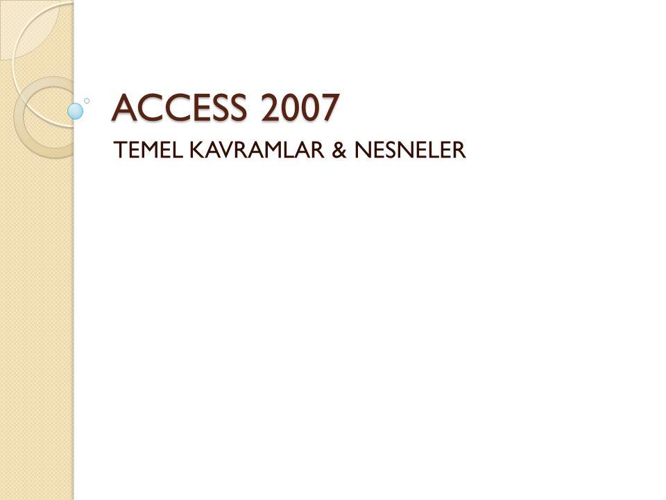 TEMEL KAVRAMLAR & NESNELER