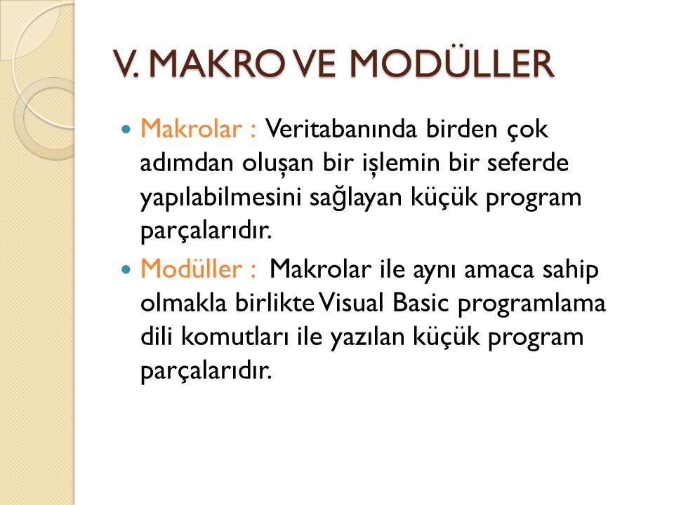 V. MAKRO VE MODÜLLER