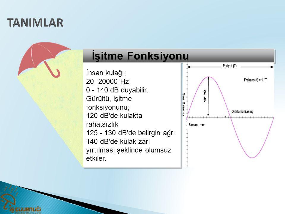 TANIMLAR İşitme Fonksiyonu İnsan kulağı; 20 -20000 Hz