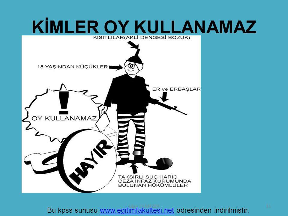 KİMLER OY KULLANAMAZ Uğur YILMAZER Bu kpss sunusu www.egitimfakultesi.net adresinden indirilmiştir.