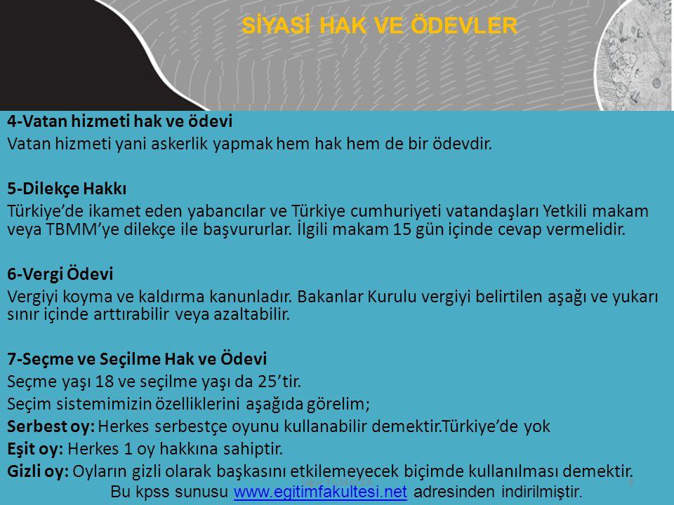 SİYASİ HAK VE ÖDEVLER 4-Vatan hizmeti hak ve ödevi