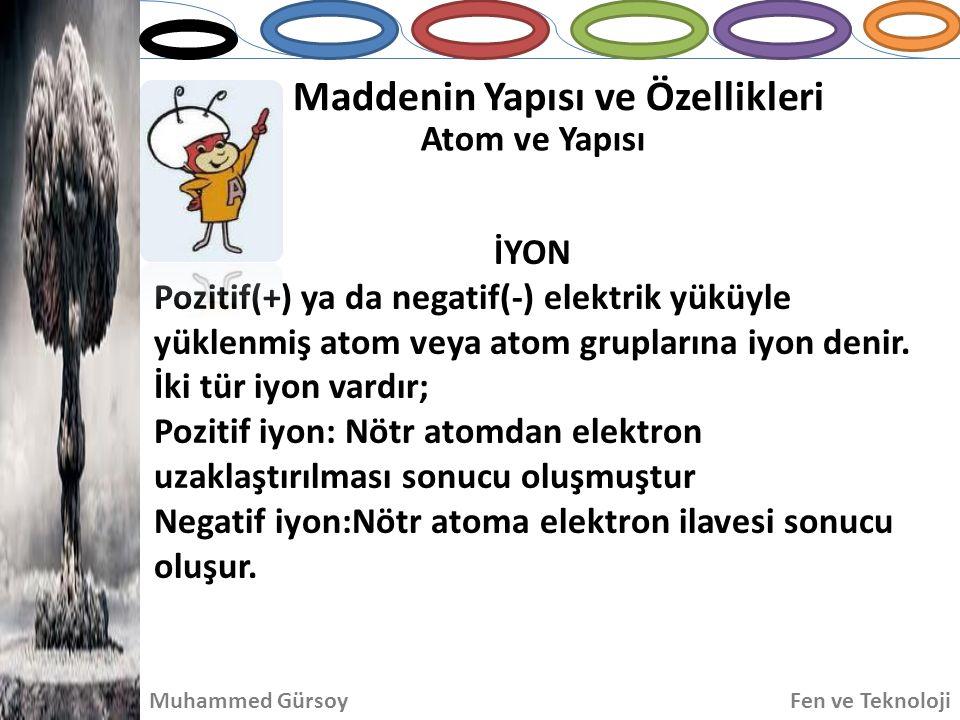 İYON Pozitif(+) ya da negatif(-) elektrik yüküyle yüklenmiş atom veya atom gruplarına iyon denir.