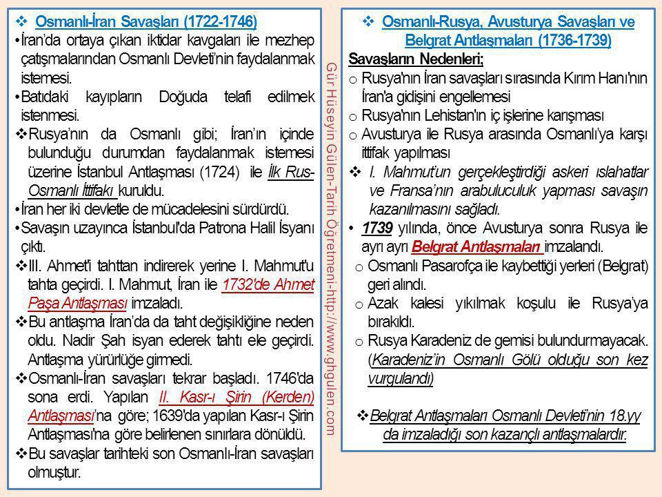 Osmanlı-Rusya, Avusturya Savaşları ve Belgrat Antlaşmaları (1736-1739)