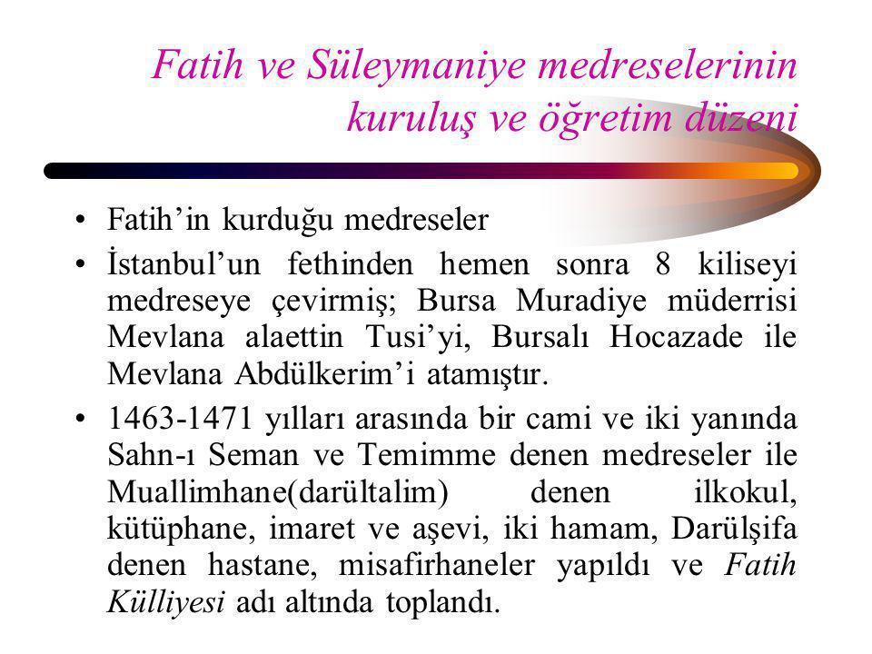 Fatih ve Süleymaniye medreselerinin kuruluş ve öğretim düzeni