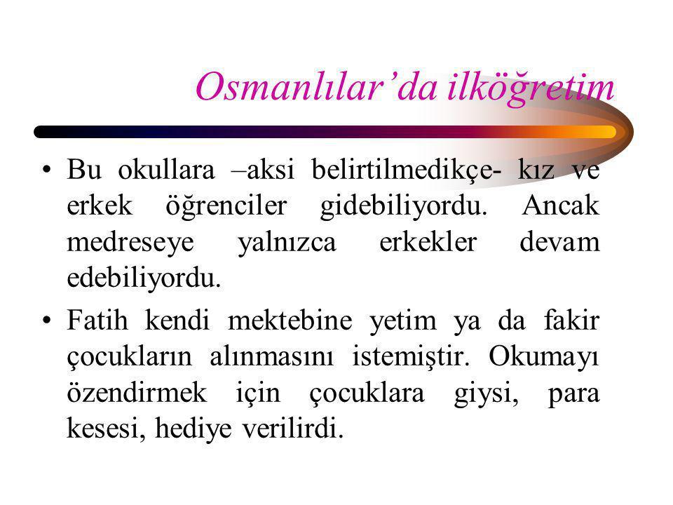 Osmanlılar'da ilköğretim