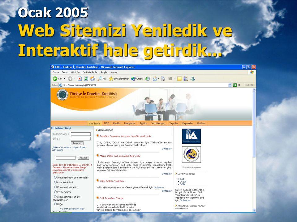 Ocak 2005 Web Sitemizi Yeniledik ve Interaktif hale getirdik...