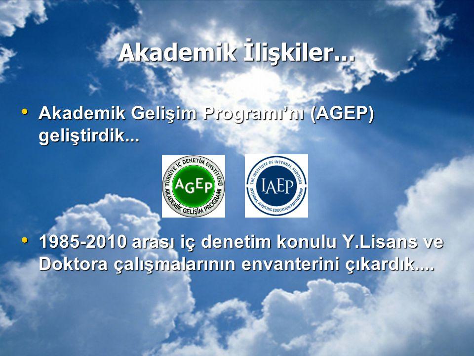 Akademik İlişkiler... Akademik Gelişim Programı'nı (AGEP) geliştirdik...