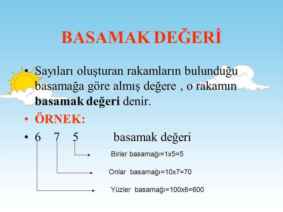 BASAMAK DEĞERİ Sayıları oluşturan rakamların bulunduğu basamağa göre almış değere , o rakamın basamak değeri denir.