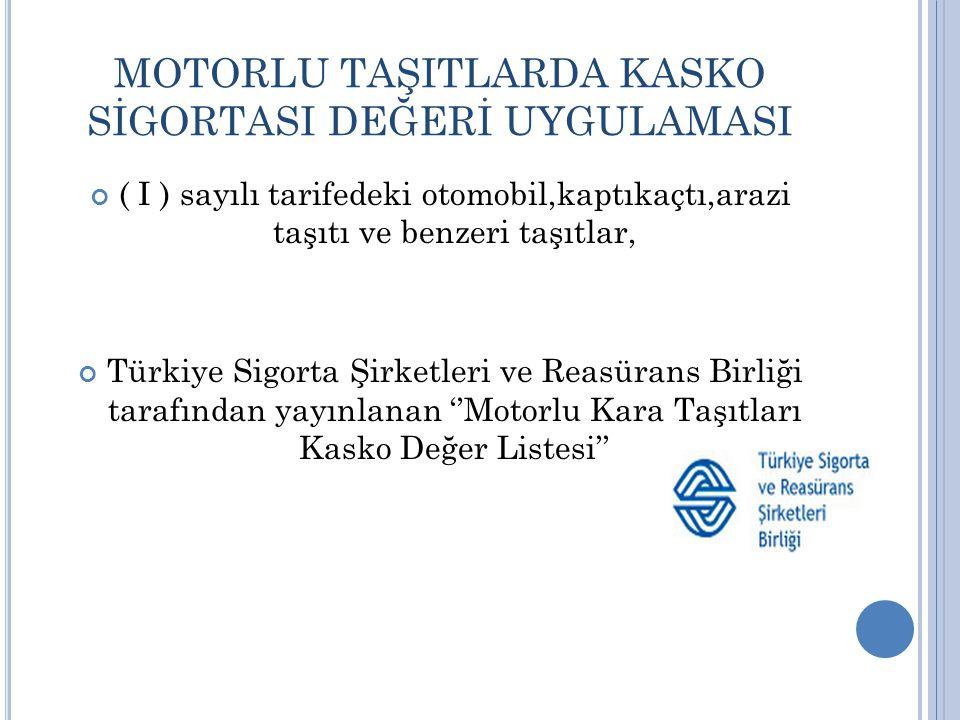 MOTORLU TAŞITLARDA KASKO SİGORTASI DEĞERİ UYGULAMASI