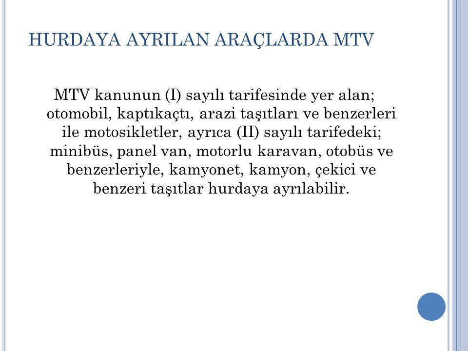 HURDAYA AYRILAN ARAÇLARDA MTV