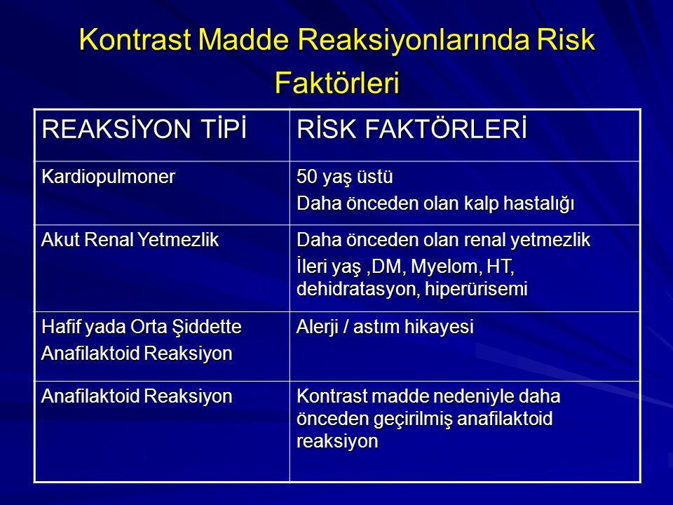 Kontrast Madde Reaksiyonlarında Risk Faktörleri
