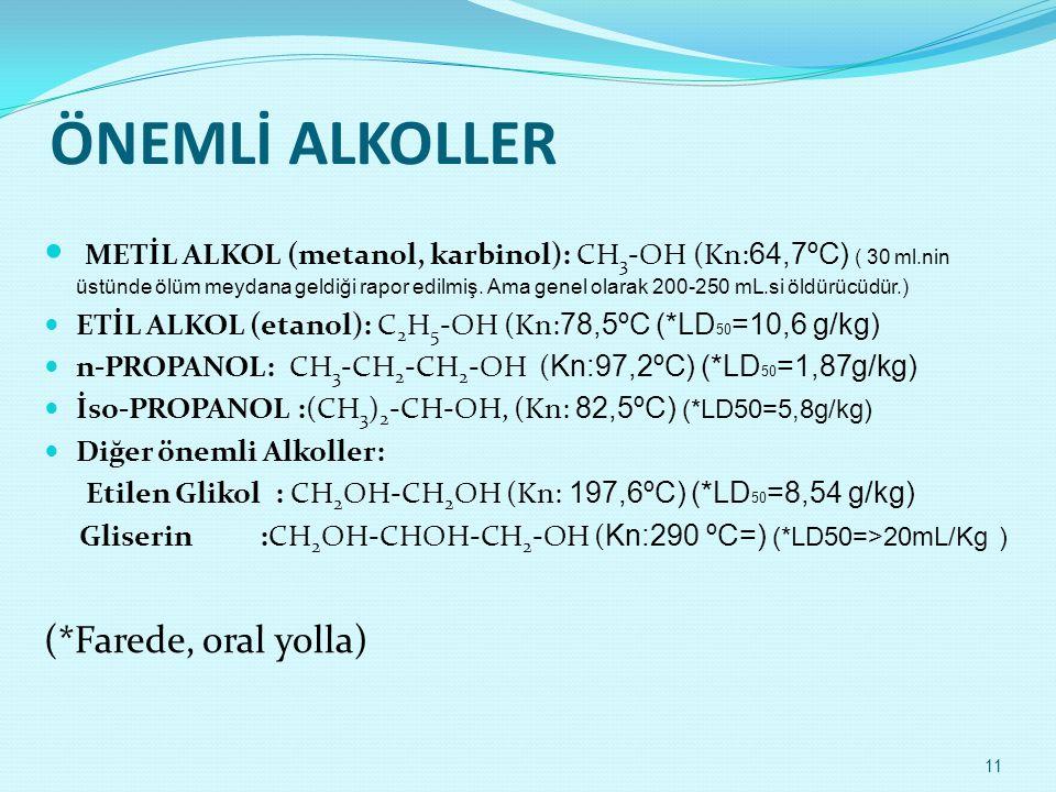 ÖNEMLİ ALKOLLER