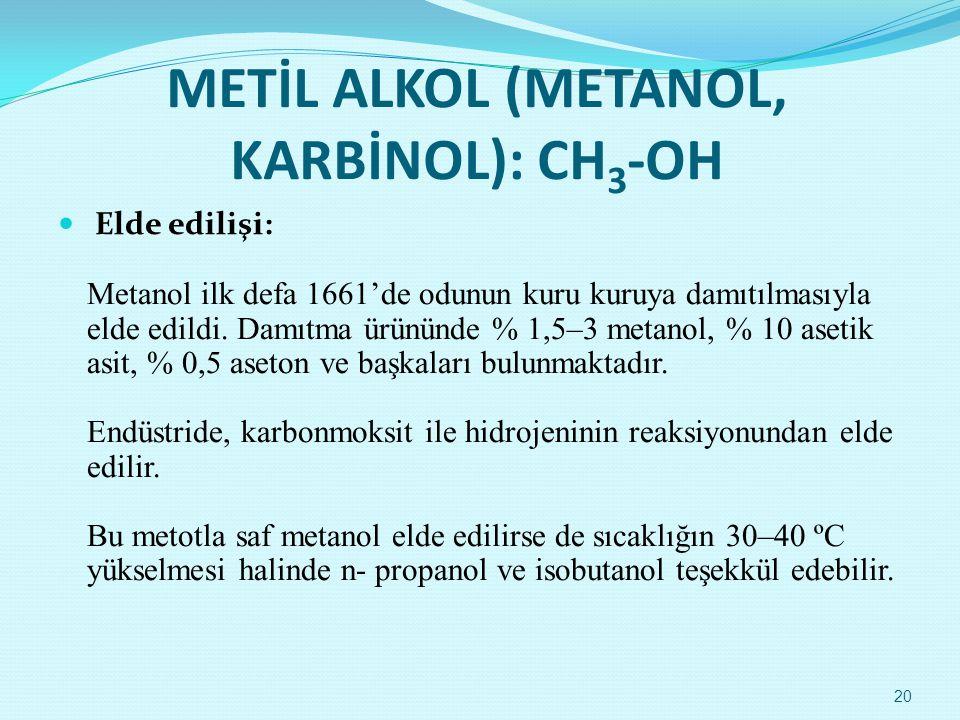 METİL ALKOL (METANOL, KARBİNOL): CH3-OH