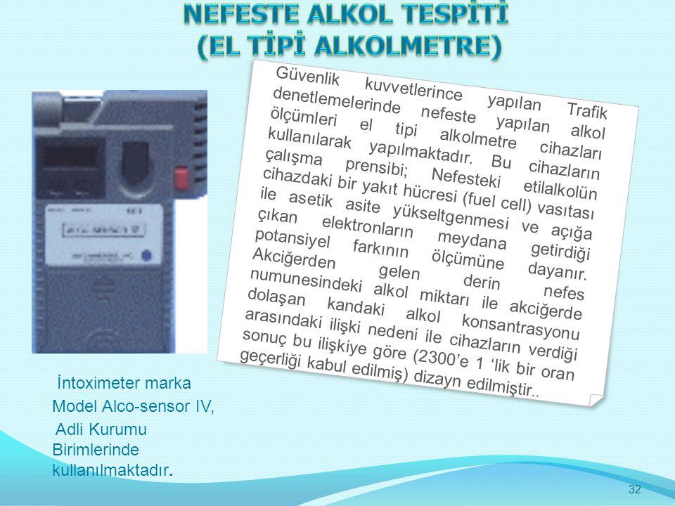 NEFESTE ALKOL TESPİTİ (EL TİPİ ALKOLMETRE)