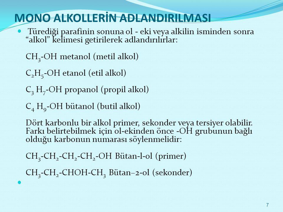 MONO ALKOLLERİN ADLANDIRILMASI
