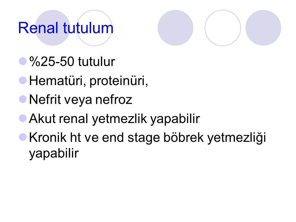 Renal tutulum %25-50 tutulur Hematüri, proteinüri, Nefrit veya nefroz