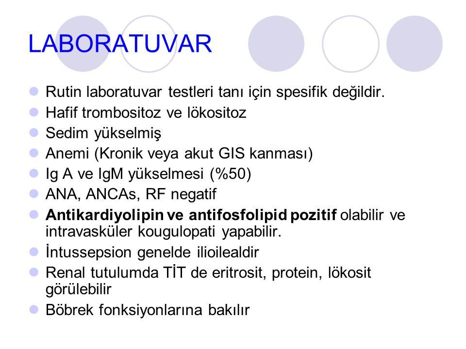 LABORATUVAR Rutin laboratuvar testleri tanı için spesifik değildir.