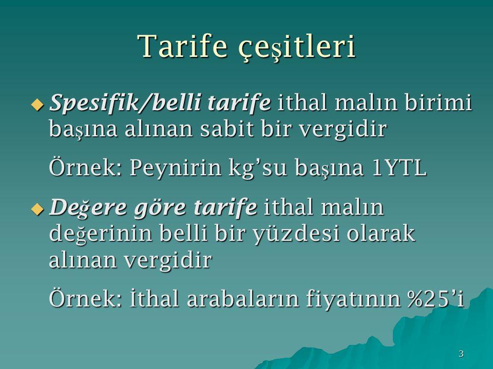 Tarife çeşitleri Spesifik/belli tarife ithal malın birimi başına alınan sabit bir vergidir. Örnek: Peynirin kg'su başına 1YTL.
