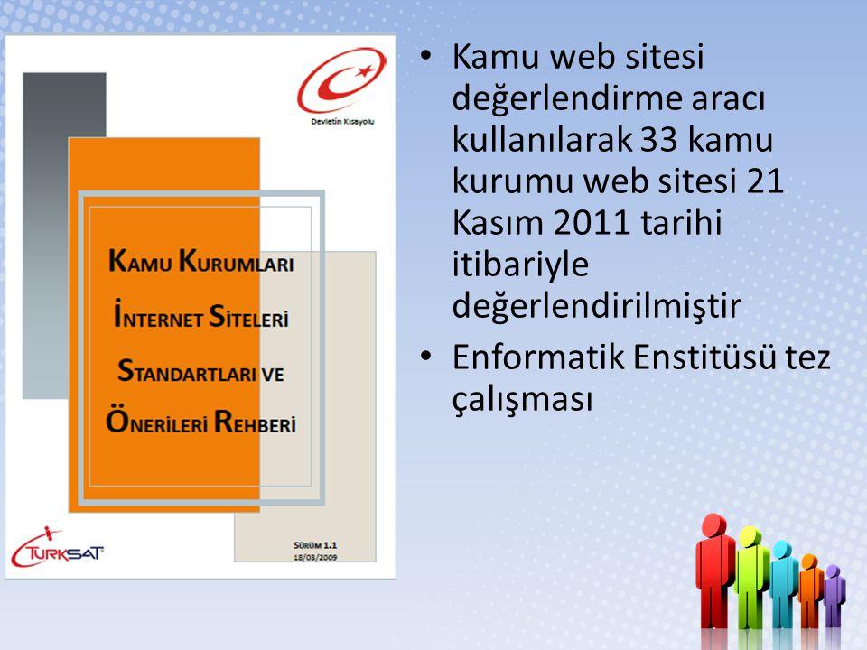 Kamu web sitesi değerlendirme aracı kullanılarak 33 kamu kurumu web sitesi 21 Kasım 2011 tarihi itibariyle değerlendirilmiştir
