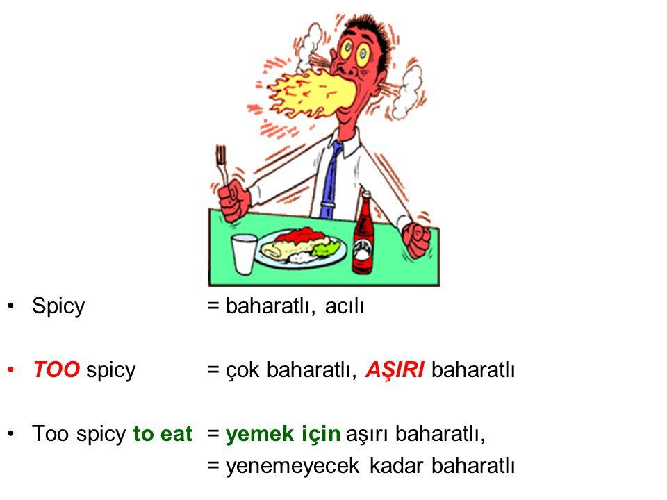 Spicy = baharatlı, acılı