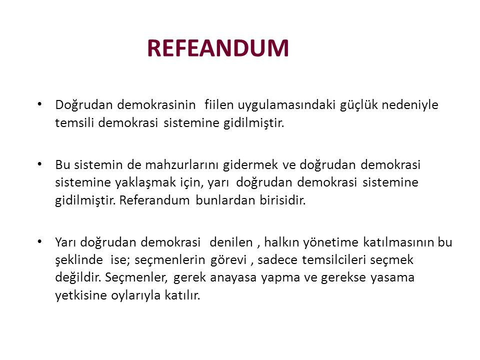 REFEANDUM Doğrudan demokrasinin fiilen uygulamasındaki güçlük nedeniyle temsili demokrasi sistemine gidilmiştir.