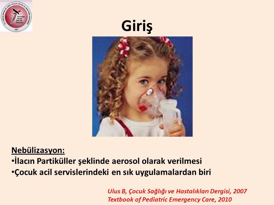 Giriş Nebülizasyon: İlacın Partiküller şeklinde aerosol olarak verilmesi. Çocuk acil servislerindeki en sık uygulamalardan biri.