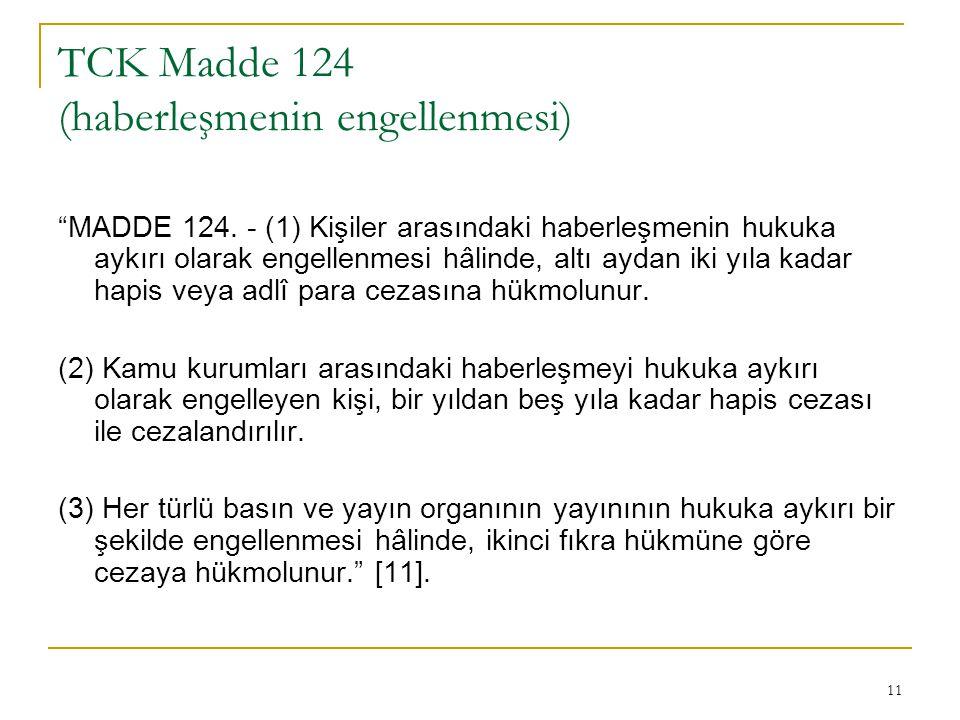 TCK Madde 124 (haberleşmenin engellenmesi)