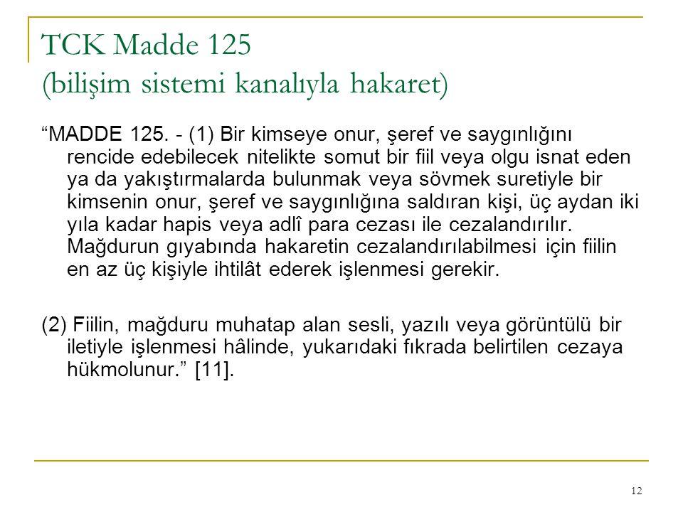 TCK Madde 125 (bilişim sistemi kanalıyla hakaret)
