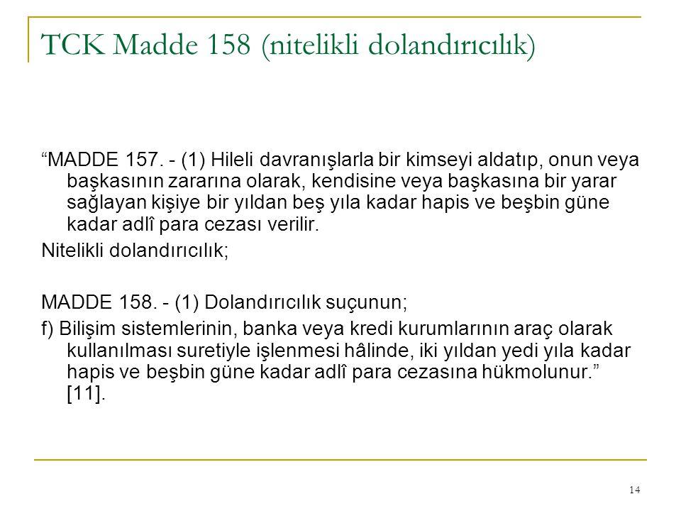 TCK Madde 158 (nitelikli dolandırıcılık)