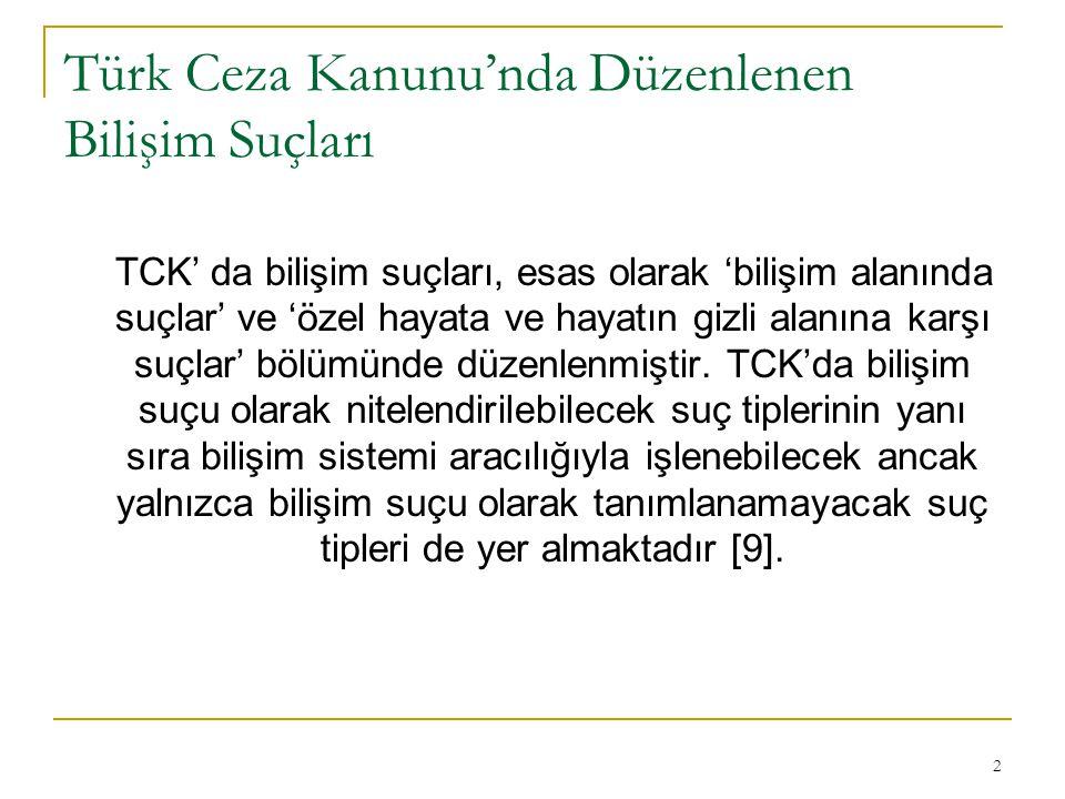 Türk Ceza Kanunu'nda Düzenlenen Bilişim Suçları