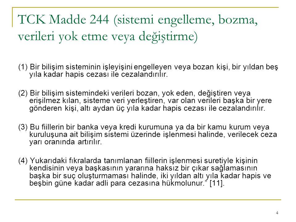 TCK Madde 244 (sistemi engelleme, bozma, verileri yok etme veya değiştirme)