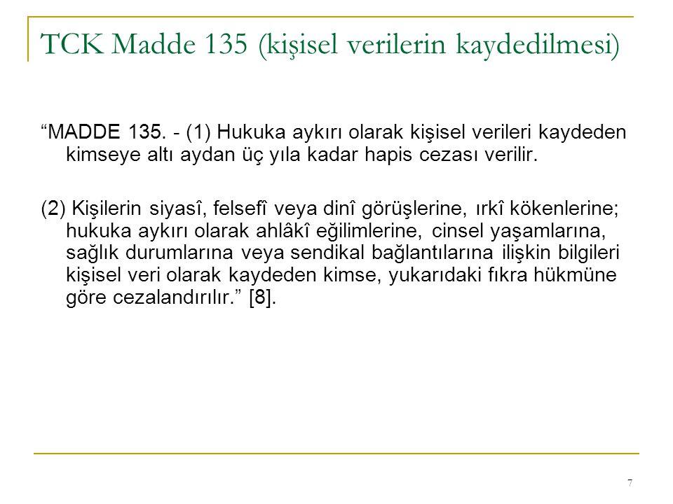 TCK Madde 135 (kişisel verilerin kaydedilmesi)