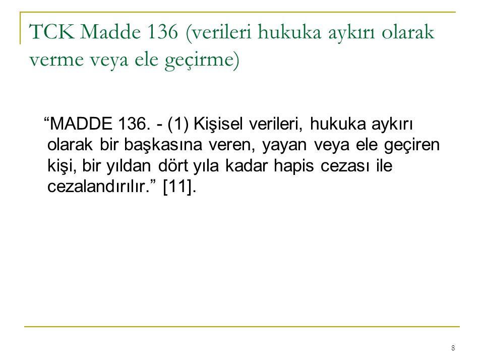 TCK Madde 136 (verileri hukuka aykırı olarak verme veya ele geçirme)