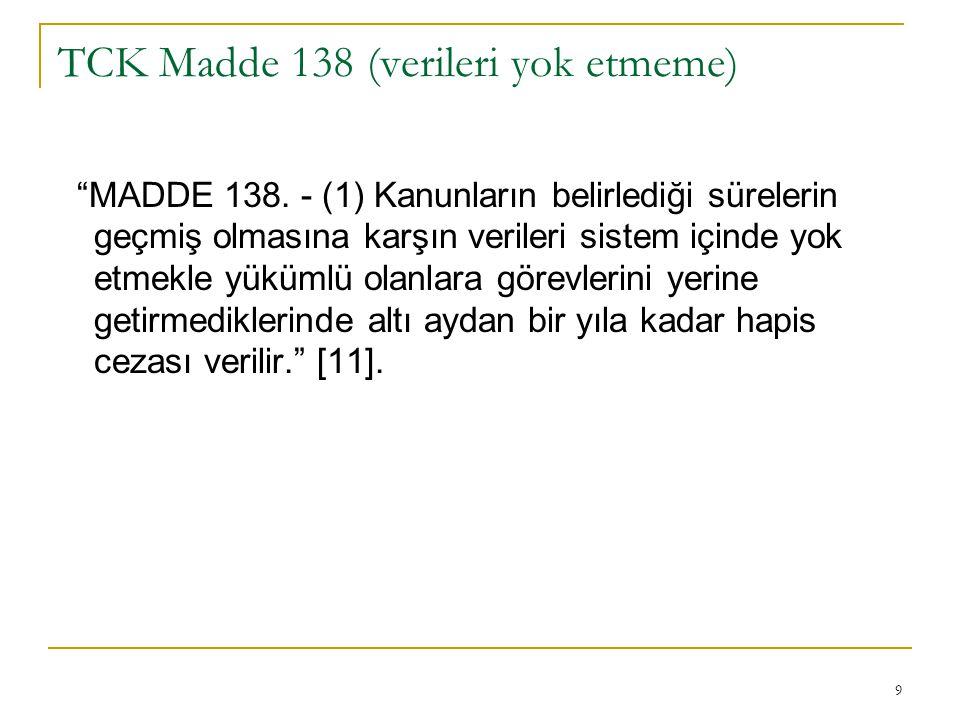 TCK Madde 138 (verileri yok etmeme)