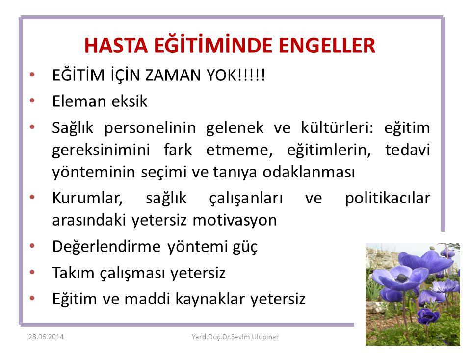 HASTA EĞİTİMİNDE ENGELLER