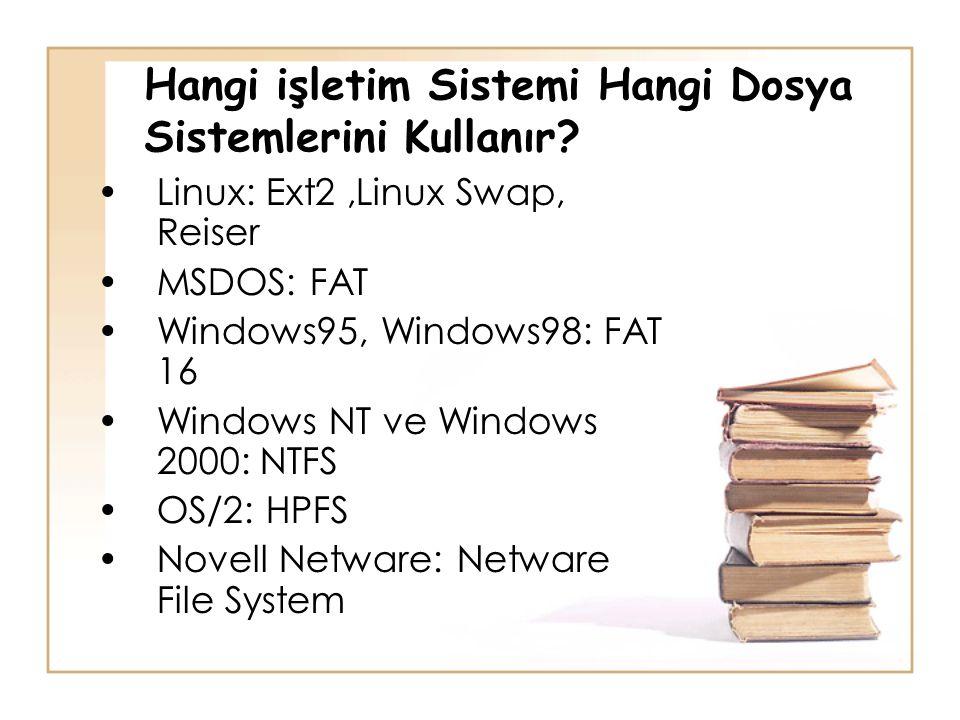 Hangi işletim Sistemi Hangi Dosya Sistemlerini Kullanır