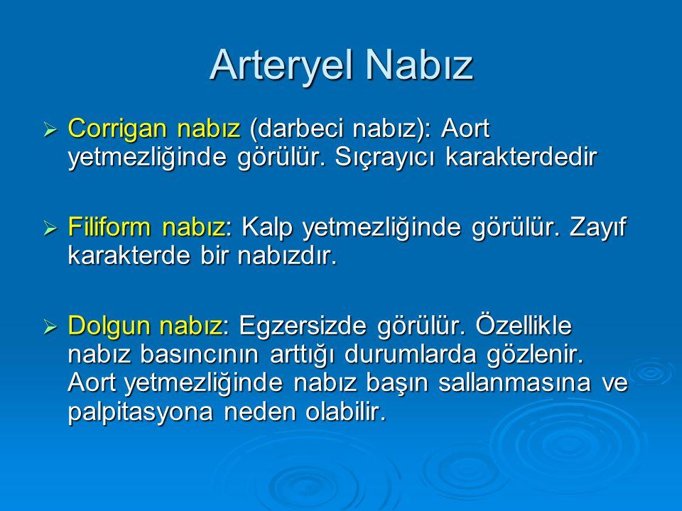 Arteryel Nabız Corrigan nabız (darbeci nabız): Aort yetmezliğinde görülür. Sıçrayıcı karakterdedir.