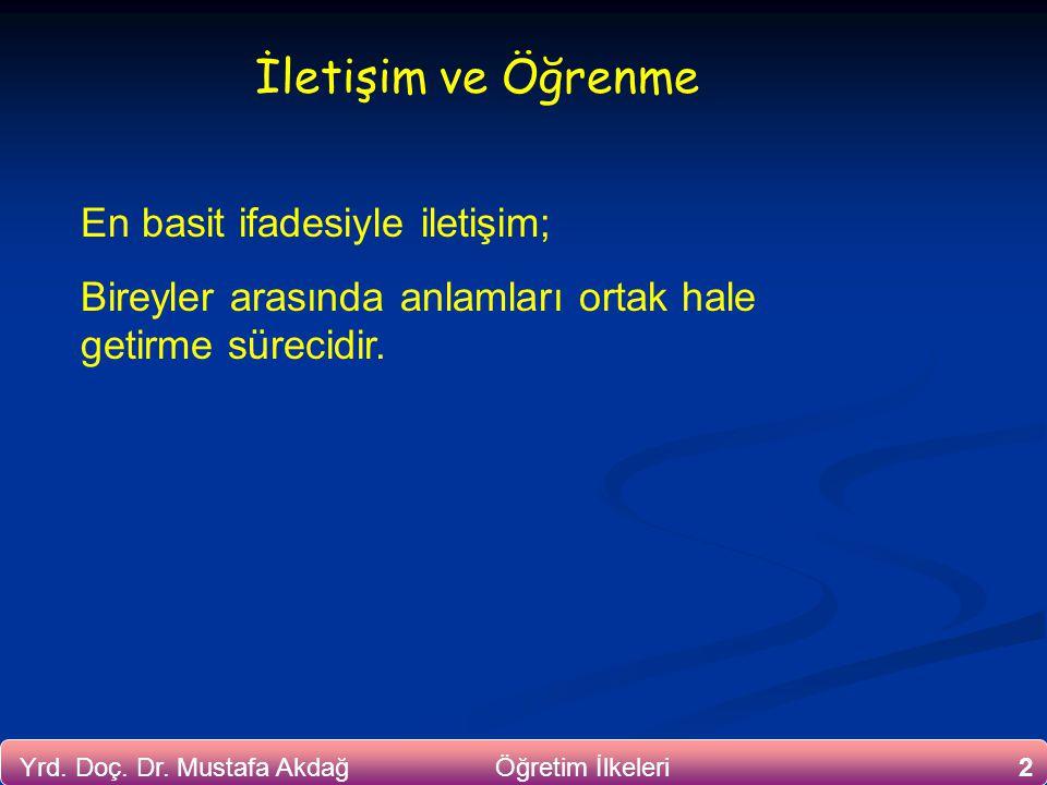 Yrd. Doç. Dr. Mustafa Akdağ Öğretim İlkeleri