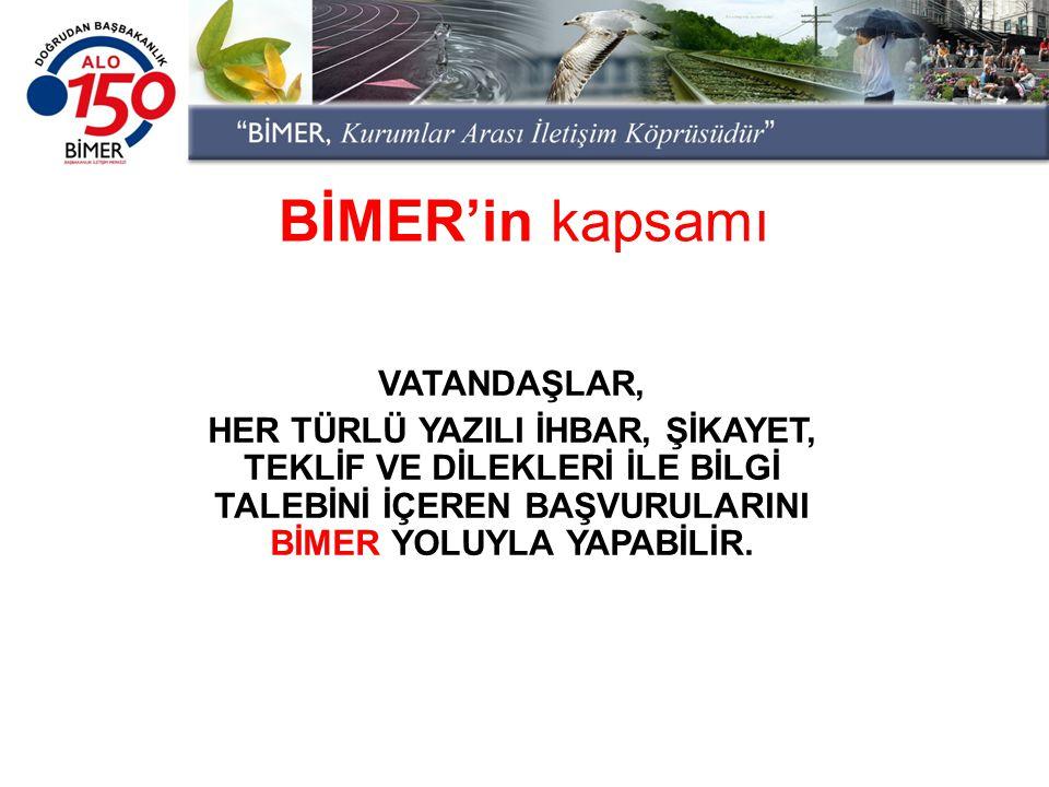 BİMER'in kapsamı VATANDAŞLAR,