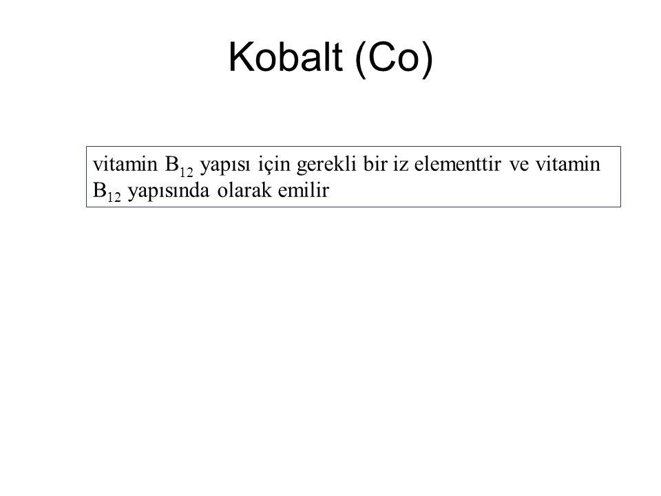 Kobalt (Co) vitamin B12 yapısı için gerekli bir iz elementtir ve vitamin B12 yapısında olarak emilir.