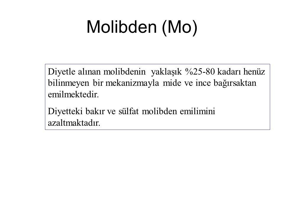 Molibden (Mo) Diyetle alınan molibdenin yaklaşık %25-80 kadarı henüz bilinmeyen bir mekanizmayla mide ve ince bağırsaktan emilmektedir.