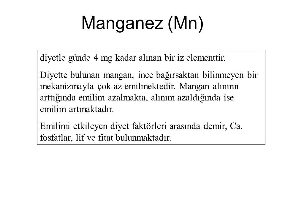 Manganez (Mn) diyetle günde 4 mg kadar alınan bir iz elementtir.